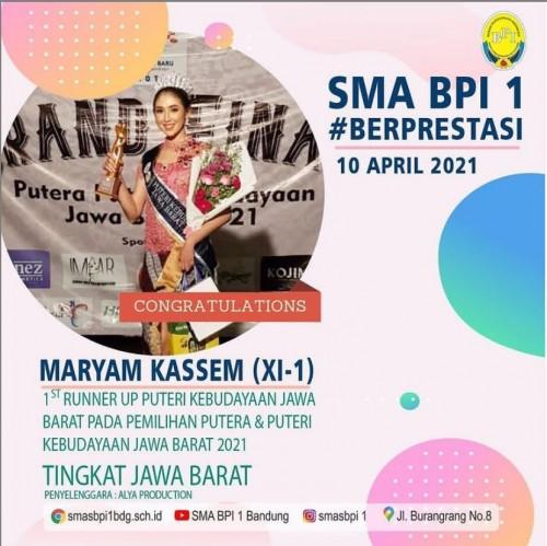 SMA BPI 1 BANDUNG 1st Runner Up Puteri Kebudayaan Jawa Barat