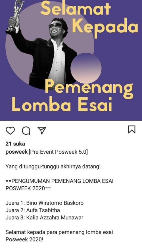 SMA BPI 1 BANDUNG Juara 3 Lomba Essai Political Science Week