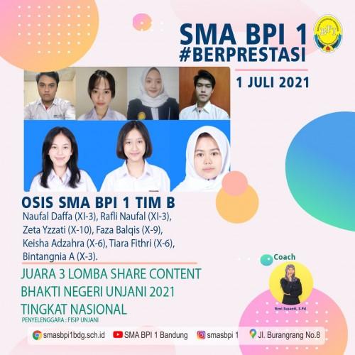SMA BPI 1 BANDUNG Juara 3 lomba share content
